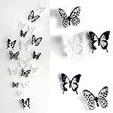 18 Stück 3D Schmetterlinge Schwarz Weiß Wasserdicht PVC Aufkleber Wandtattoo