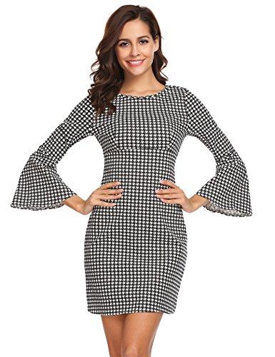 Meaneor Damen Kleider Langarm Abendkleid Gitter Cocktailkleid A-Line Sexy Partykleid mit Side Zipper Schwarz-Weiß-Gitter