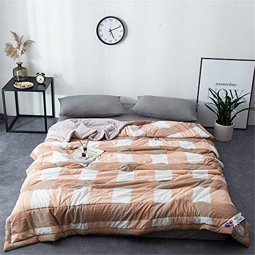RFVBNM Kurze Japan Style Washed Cotton Sommer Quilt Klimaanlage Decke Super Soft Plaid Erwachsene Kinder Tröster Bettdecke Heimgebrauch, gelb 150 * 200 cm (Cotton Soft Tröster)