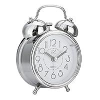 ZHOUBA Retro Twin Bell Quiet Silent Non Ticking Sweep Second Hand Bedside Alarm Clock (Silver)