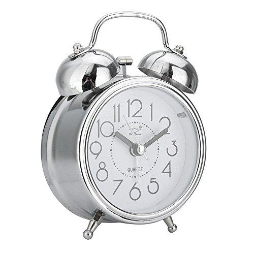 wiFndTu Classic Silent Double Bells Movimiento de Cuarzo Mesita de Noche Retro Mini Reloj Despertador - Plateado