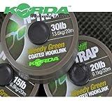 Korda N-TRAP Semi Stiff 20m - Vorfachschnur für Karpfenmontagen, Schnur für Karpfenvorfach, Vorfachmaterial für Karpfen, Tragkraft:20lbs/9.1kg, Farbe:Weed (Grün)