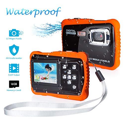 """Kamera für Kinder, Kinderkamera Wasserdicht bis 3 Meter Digitalkamera mit 4x Digitaler Zoom/ 12MP HD Fotos/ 720P HD Videofunktion/ 5 MP CMOS Sensor/ 2\"""" Bildschirm mit 16GB Speicherkarte MEHRWEG"""