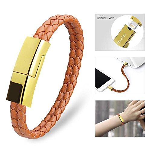 Pulsera USB Cable de Carga Pulsera Corto Cables de Datos portátil de Cuero Cable de Carga Brown 8.3\'\' marrón