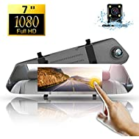 1080P Dash CAM Espejo Retrovisor,Directtyteam 7 Pulgadas Full HD Cámara para Coche Pantalla Táctil