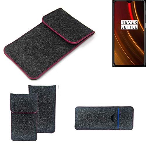 K-S-Trade® Filz Schutz Hülle Für -OnePlus 6T McLaren Edition- Schutzhülle Filztasche Pouch Tasche Case Sleeve Handyhülle Filzhülle Dunkelgrau Rosa Rand