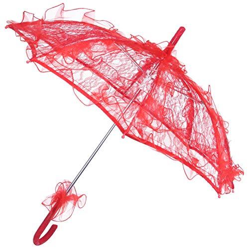 Fauge Lace Sombrilla Boda Flor de Encaje Boda Novia Parasol Paraguas Rojo