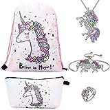 RHCPFOVR Unicorno Regali per Ragazze 5 Pack - Zaino Con un Cordoncino Per Unicorno/Borsa per Trucco/Bracciale/Collana Pendente Per Unicorno/Anello unicorno