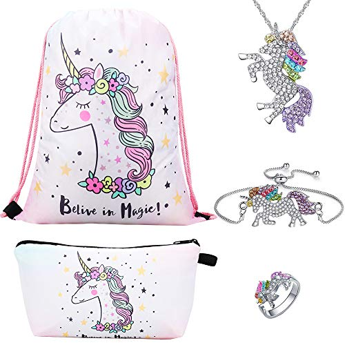 Lingpeng Unicorn Gifts For Girls 5 Pack - Unicorn Mochila con cordón / Bolsa de maquillaje / Pulsera / Collar colgante de unicornio / Anillo Unicorn