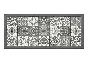 BIANCHERIAWEB Tappeto con Retro Antiscivolo da Cucina Disegno Maiolica By Suardi 55x140 Grigio