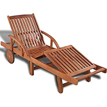 Tidyard Verstellbare Sonnenliege Holz Wetterfest mit 2