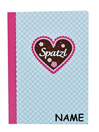 Notizbuch / kleines Tagebuch / Muttiheft - incl. Name - Spatzl - blanko weiß - klein A6 mit 48 Seiten - auch als Oktavheft für Mädchen Kinder Lebkuchen Trachten / Aufgabenheft / Vokabelheft