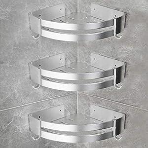 Yorbay Duschregal ohne Bohrung mit Kleber, Dreieck Badregal aus Aluminium mit Haken, 3 Stücke in einem Set