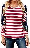 ECOWISH Langarmshirt Damen Pullover Blumen Gestreift Rundhals Tshirt Hemd Oberteile Tops Rot S