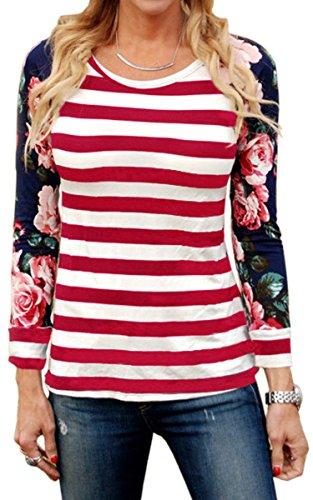 ECOWISH Langarmshirt Damen Pullover Blumen Gestreift Rundhals Tshirt Hemd Oberteile Tops Rot L (Schöne T-shirt Damen)