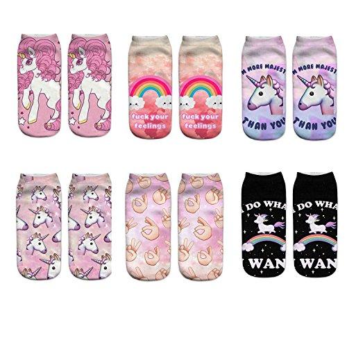 LegendsChan 6 Paar Damen Mädchen Cartoon Einhorn Socken Weich Elastisch Sport Socken Strümpfe Füßlinge Bunt Motiv (6 Paar-2) (Socken-füßlinge Mädchen)