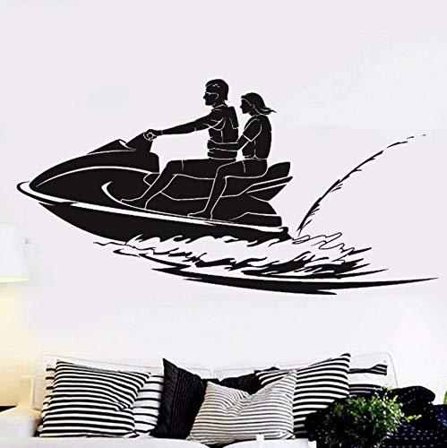 Preisvergleich Produktbild yologg Wassersport Vinyl Aufkleber Jet Ski Wandaufkleber Vinyl Skifahren Tapete Wohnkultur Meer Strand Jet-Ski Wand Fenster Aufkleber AY931