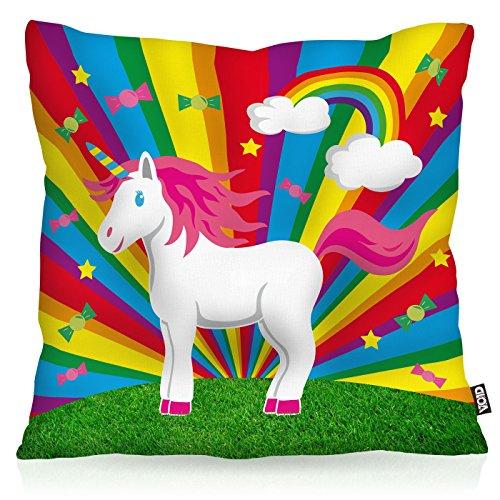 VOID Rainbow Star Unicorn Einhorn Kissenbezug Kissenhülle Outdoor Indoor Regenbogen, Kissen Größe:60 x 60 ()