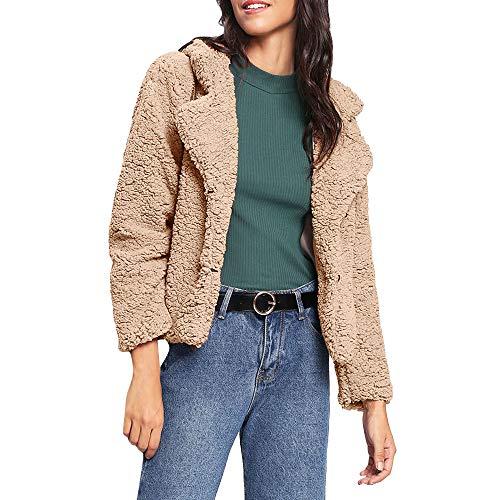 TWBB Damen Mantel Winter Outwear Elegant Warm Faux Fur Kunstfell Jacke Kurz Strickjacke Coat