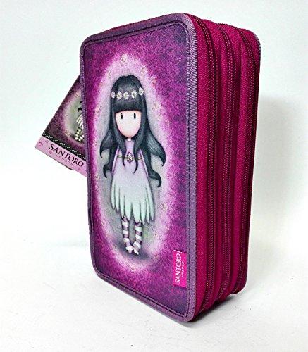 Santoro Gorjuss London – Estuche escolar de 3 cremalleras, color violeta, fantasía, con accesorios