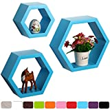 WOLTU RG9244bl 3er Floating Wall Shelf Floating Shelves Storage Lounge Hexagon Mounted Display Shelves Blue in Different Sizes and Colours