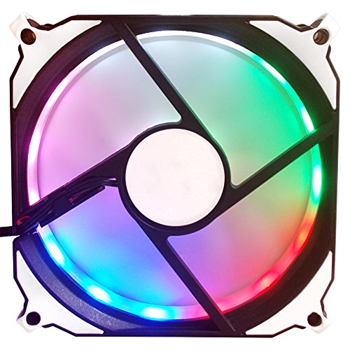 abatap 120mm Standard Fall Fan Ultra Leise Computer Cooling Fan mit Abnehmbarer Halterung und Silikon Pad 4Farben & RGB Mehrfarbig Regenbogenfarben 1 Pack