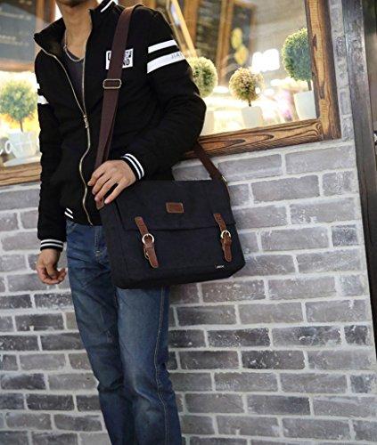 Supa Moden Canvas Schultertasche vintage Messenger Tasche Laptop Bag Umhängetasche Crossbody Tagesrucksack Cool Brust Taille Turnbeutel Sport Tasche für Damen und Herren Schwarz