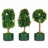 VGIA Set von 3Künstliche Pflanzen in Keramik-Topf, Buchsbaum, Formschnitt, klein Dekoartikel für Zuhause