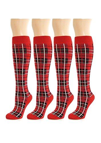 Roter weißer schwarzer Tartan über den Knie Schenkel hohen Socken Halloween Zusätzen