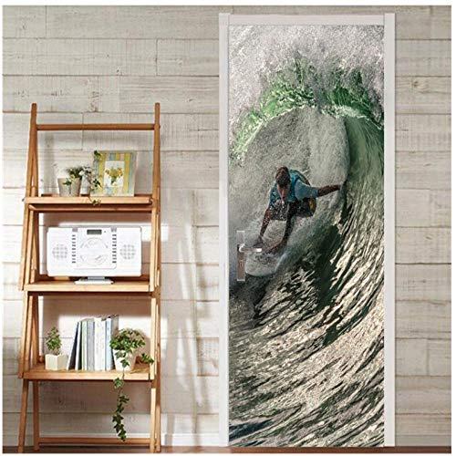 manbgt Mann Surfen Auf Longboard Wandkunst Bild, Wandaufkleber Tür Aufkleber Tapete, Decals Home Decoration-77X200Cm (Die Türen Longboard)