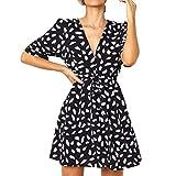 Vestidos Mujer Casual Verano Lanskirt Moda Vestido Estampado de Encaje con Botones para Mujeres Vestido Casual de Playa Manga Corta
