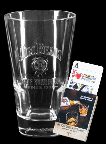 6 Jim Beam Relief Longdrinkgläser + 1 x Pokerkarten