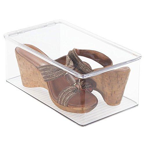 durchsichtige schuhkartons mDesign stapelbarer Schuhkasten – der transparente Schuhkarton, praktische Schuhaufbewahrung mit Deckel
