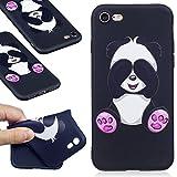 Coque iphone 7,Coffeetreehouse Motif soft coloré de motif estampé Noir mince TPU Protecteur Case Pour iphone 7(Shy panda)