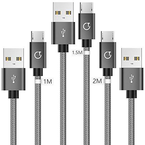 Micro USB [1m+1.5m+2m / Lot de 3], Gritin Cable Micro USB en Nylon Tressé Câble Cordon Chargeur Micro USB Rapide pour Samsung, Appareils Android, Sony, HTC, Nexus, etc - Gris Sidéral