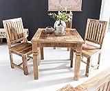 FineBuy Esstisch RUSTI 80 x 80 x 76 cm Mango Massivholz Quadratisch | Küchentisch Rustikal | Design Holz Esszimmertisch | Tisch Esszimmer für 4 Personen Echtholz Vergleich
