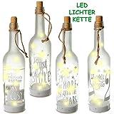 alles-meine.de GmbH 5 Stück _ LICHT Dekoflaschen - je 10 Stück LED -  Motiv - Mix  - Flasche mit Licht - Batterie betrieben - Dekolicht - Weihnachten / Sommer & Winter - Dekora..
