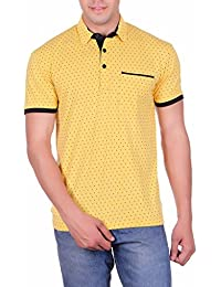 Vivid Bharti Half Sleeve Polo Neck Dot Printed Men's Cotton Tshirt
