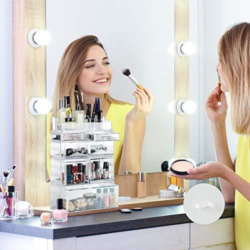 Relaxdays Boîte rangement maquillage Make up organisateur cosmétiques 7 tiroirs compartiments empilables, transparent