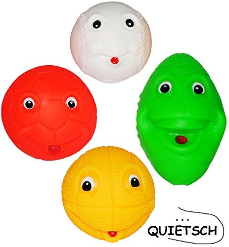 alles-meine.de GmbH 4 TLG. Set _ Quietschfiguren - Verschiedene Bälle & Kugeln - mit Gesicht - ab 0 Monate für Babys & Hund -  Fußball - Basketball - Baseball - Football  - Qui.. -