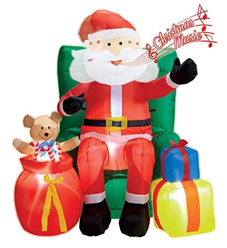 Gruppo maruccia babbo natale gonfiabile luminoso musica e testa animata decorazione natalizia per interni ed esterni