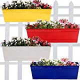 TrustBasket Set of 4 Rectangular Railing Planter -Yellow, Red,Ivory and Blue (18 Inch)