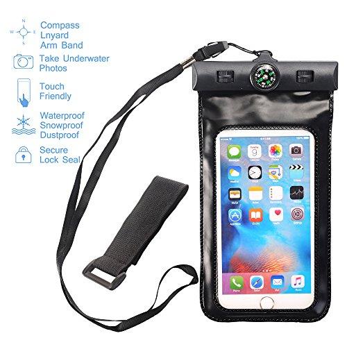 Asstar Universal-Schutzhülle, wasserdicht, inkl. Armband & Kompass & Trageband, wasserdicht für iPhone 7/SE/6S/6S Plus, Galaxy Note 7/S7/S7 Edge, und andere Geräte bis 15,2 cm (6 Zoll), 6.0, schwarz (Handy-hülle Für Verizon Lg G2)