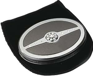 Danielle - 392 - Miroir de Poche Oval Grossissant x5 - Perles Noires/Chrome