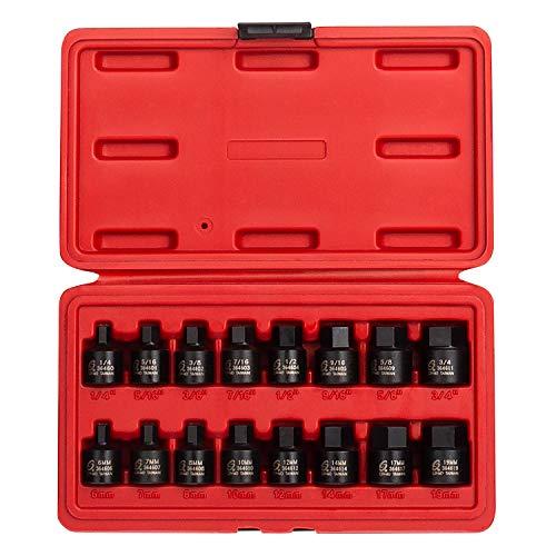 SUNEX 3646 3/20,3 cm Drive Stubby Impact Hex pilote SAE et métrique Ensemble, pouces/métrique, 6 pans, Cr-Mo, 1/10,2 cm - 3/10,2 cm, 6 mm - 19, 16 pièces