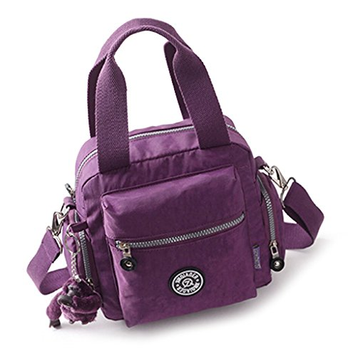 fanselatm-womens-travel-waterproof-nylon-tote-single-shoulder-crossbody-handbag-purple
