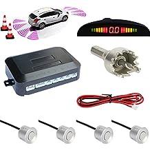 TKOOFN Universal KFZ Summer Einparkhilfe Rückfahrhilfe Auto Parken Sensor System mit 4 Sensoren Radar Kit LED Display Silber