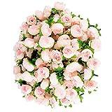 Poualss 100 Pezzi Rosa Teste Fiori Artificiali di Seta Piccole Decorazioni Floreali Rosa Finte per la Festa di Nozze a Casa (Champagne)