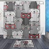ISAOA Rutschfeste Badezimmermatte mit Grauer Katze in roten Gläsern, 60 x 40 cm, wasserdicht, 183 x 183 cm, waschbarer Duschvorhang mit 12 Haken