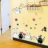 Bomeautify Wandtattoos Wandbilder Wohnzimmer Flur Kindergarten Klassenzimmer Aufkleber Kinderzimmer Baby Schlafzimmer Kühlschrank dekorative Aufkleber Cartoon Kaninchen, 60 * 90cm